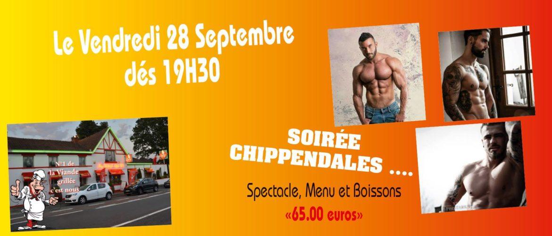 Soirée Chippendales - Menu 65 € - Vendredi 28 septembre 19h30