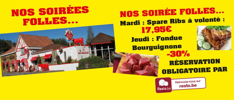 Boeuf qui rit - soirée folle mardi soir Spare Ribs à volonté et jeudi soir fondue Bourguignonne